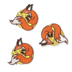 NEW MOON FOX IRON ON BADGES FABRIC PATCHES 3-PACK